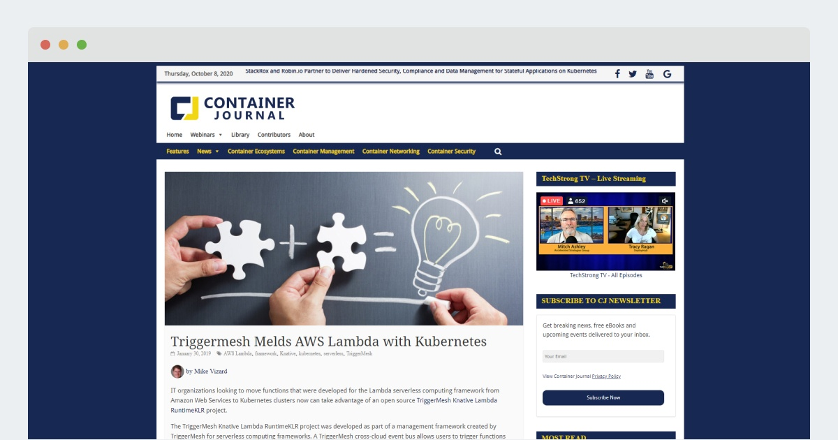 Container Journal – Triggermesh Melds AWS Lambda with Kubernetes