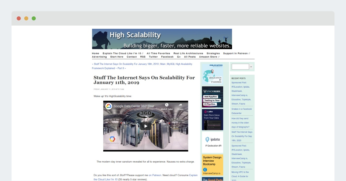 High Scalability Blog – Stuff The Internet Says On Scalability For January 11th, 2019