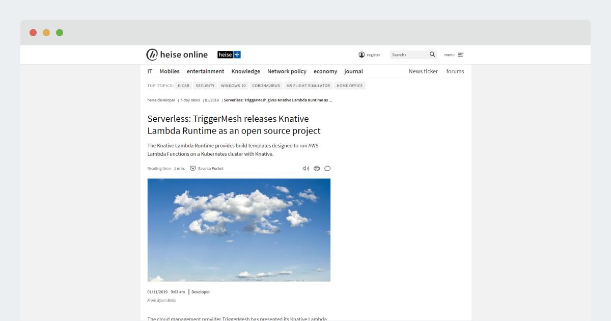 Heise Online: Serverless: TriggerMesh gibt Knative Lambda Runtime als Open-Source-Projekt frei