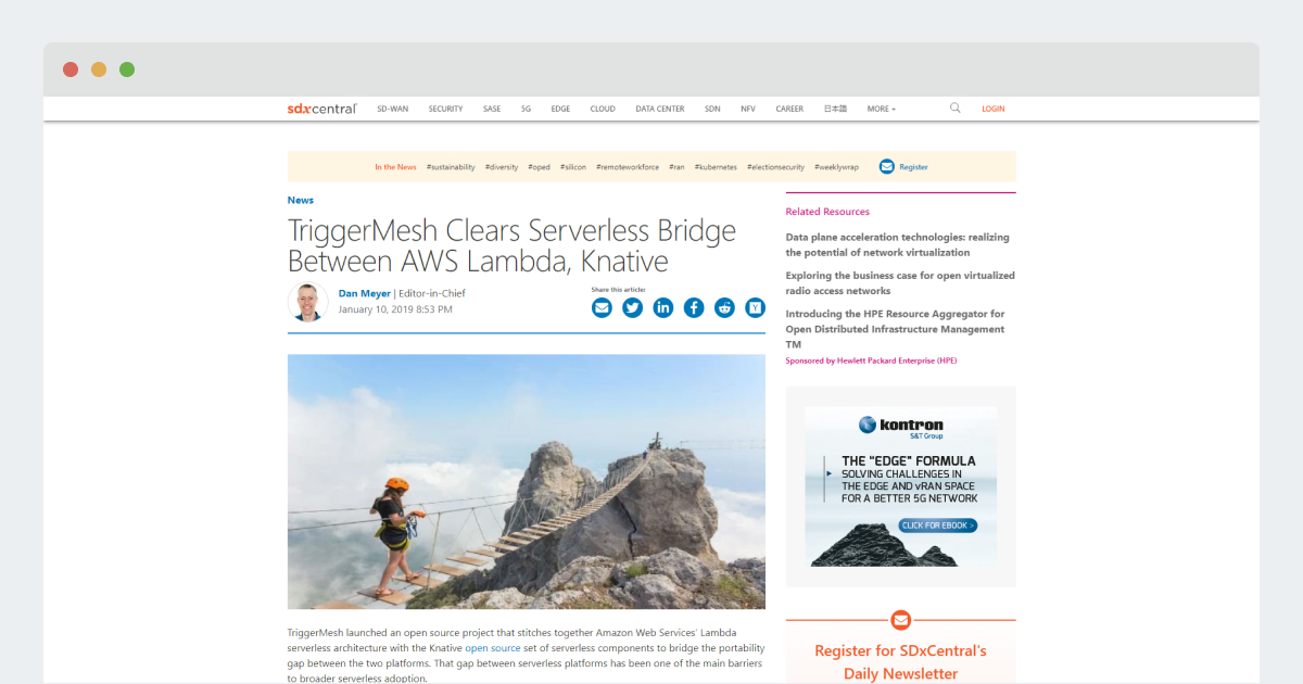 SDX Central – TriggerMesh Clears Serverless Bridge Between AWS Lambda, Knative