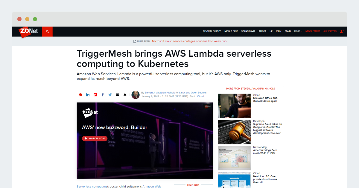 ZDNet – TriggerMesh brings AWS Lambda serverless computing to Kubernetes