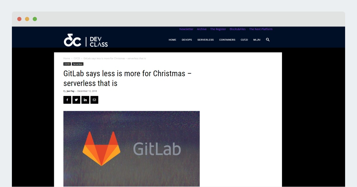Dev Center: GitLab says less is more for Christmas – serverless that is