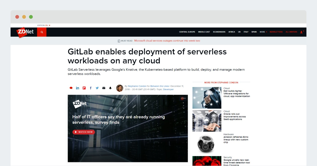 ZDnet: GitLab enables deployment of serverless workloads on any cloud