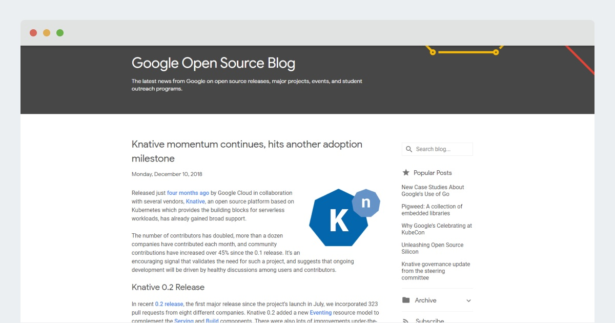Google Open Source Blog: Knative momentum continues, hits another adoption milestone