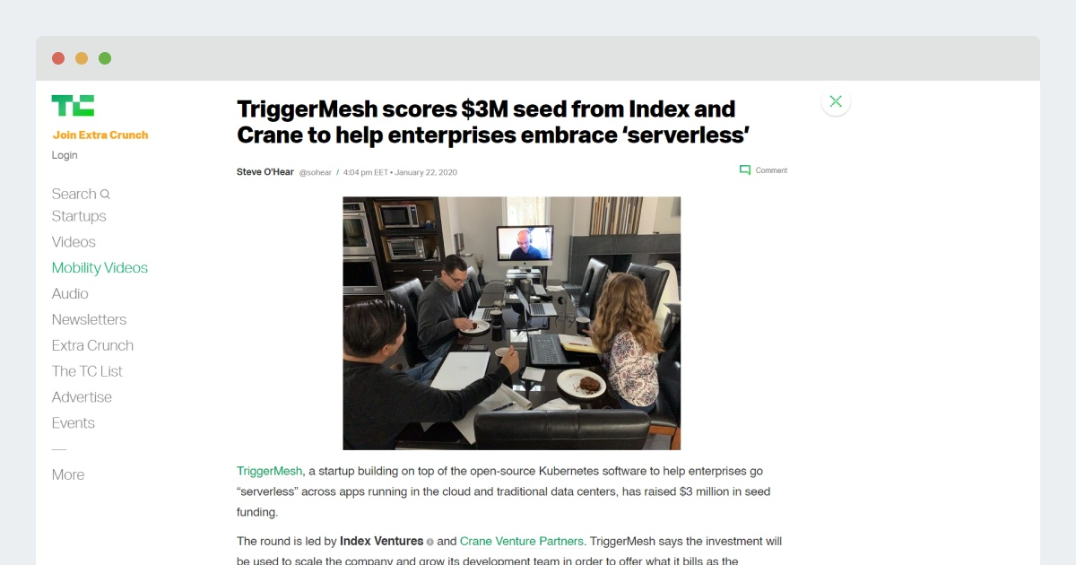 TechCrunch – TriggerMesh scores $3M seed from Index and Crane to help enterprises embrace 'serverless'