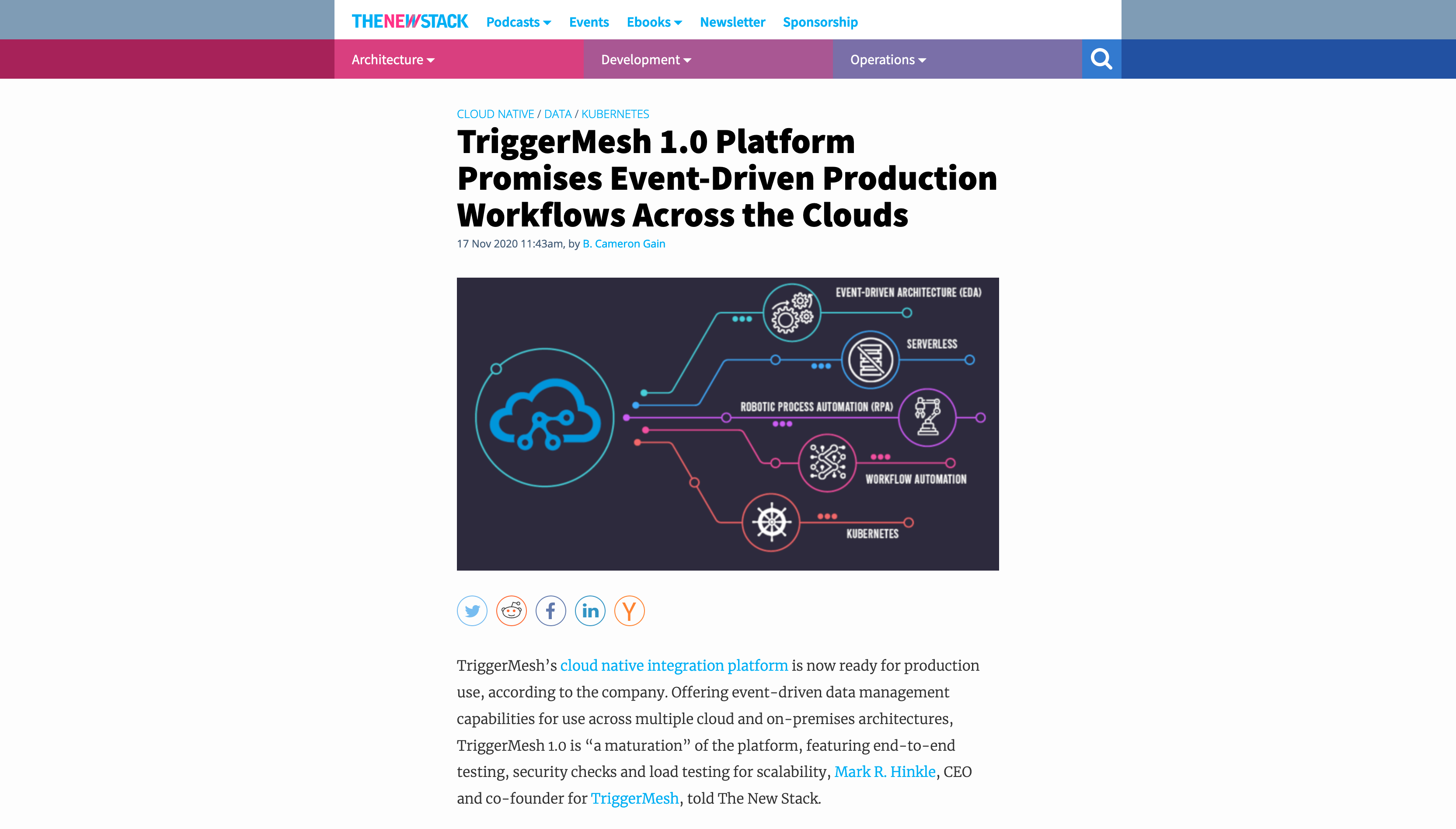 TheNewStack - TriggerMesh 1.0 Platform Promises Event-Driven Production Workflows Across the Clouds