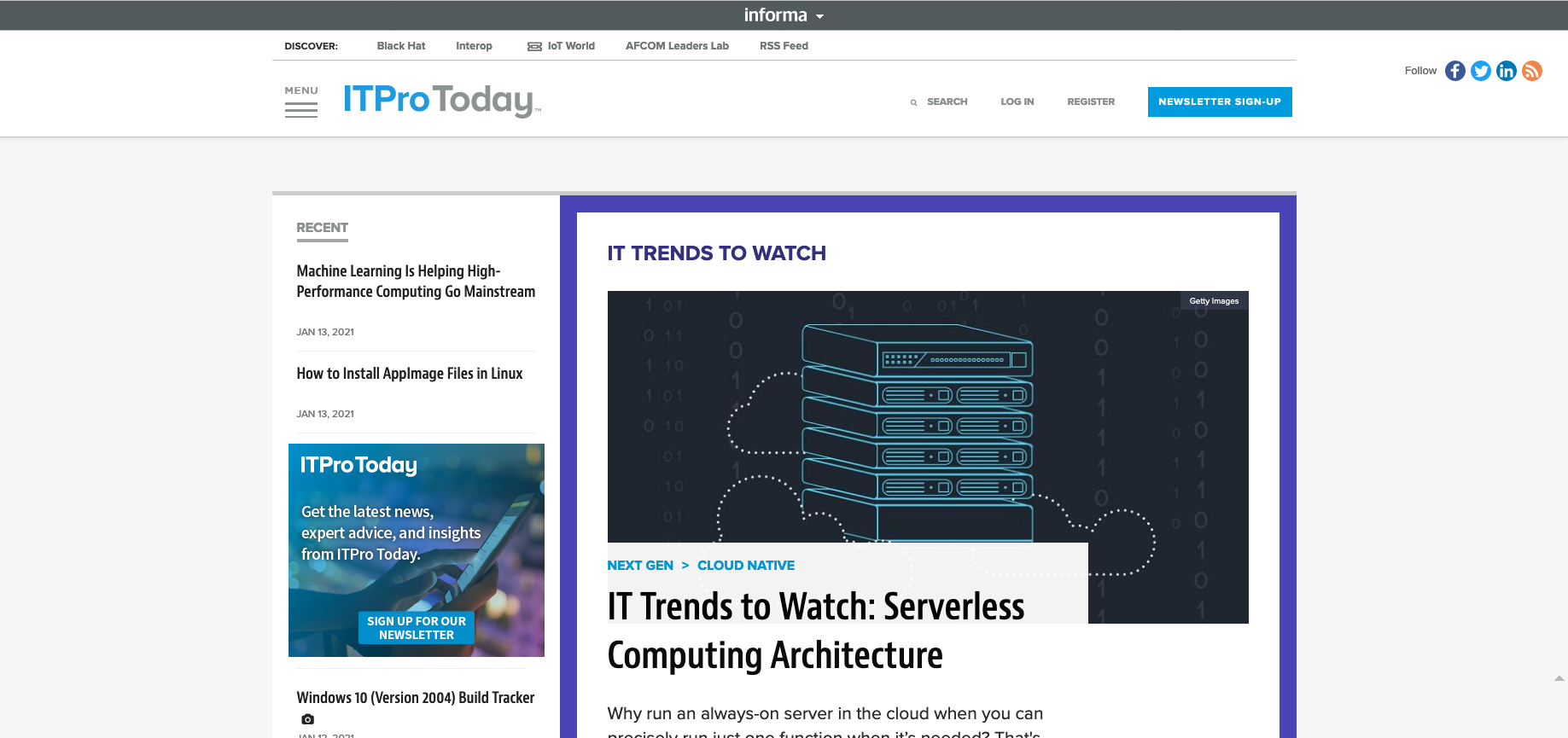 ITPro Today - IT Trends to Watch: Serverless Computing Architecture