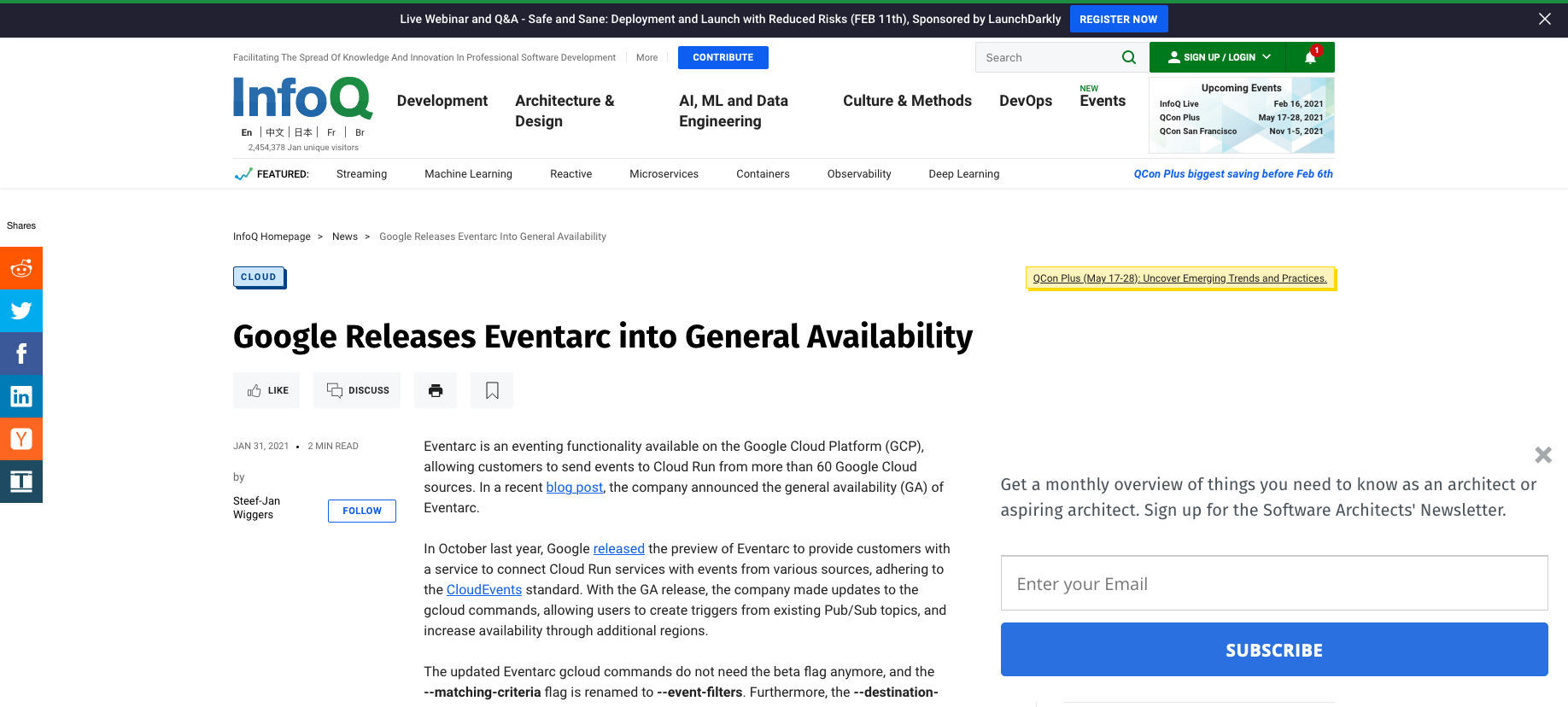 InfoQ - Google Releases Eventarc into General Availability