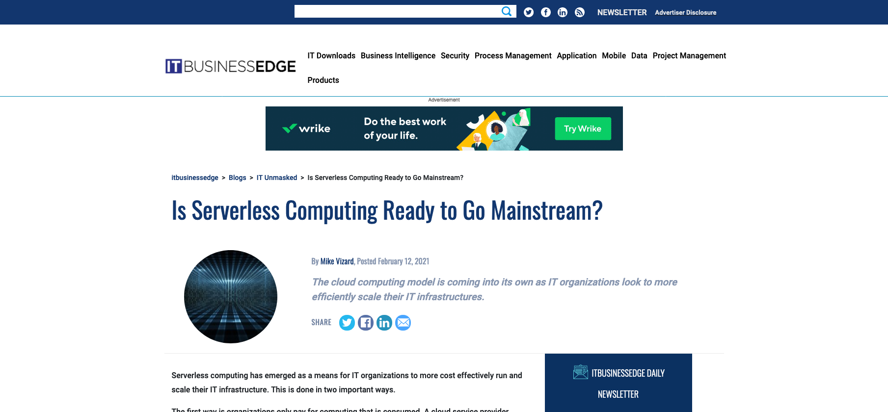 ITBusinessEdge - Is Serverless Computing Ready to Go Mainstream?