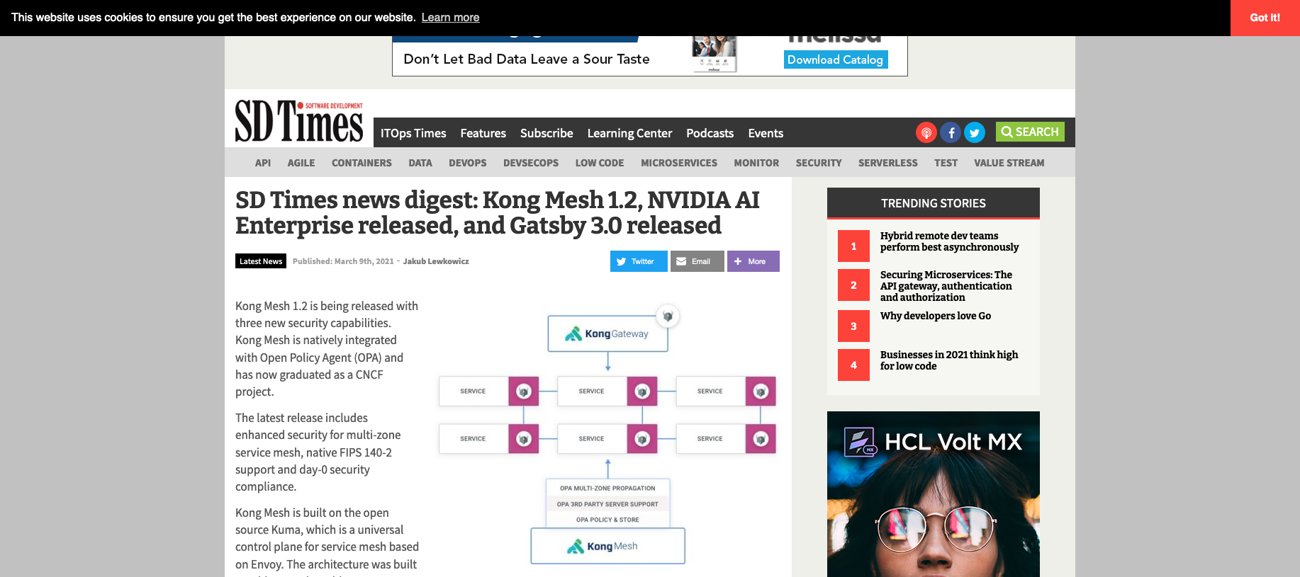SD Times news digest: Kong Mesh 1.2, NVIDIA AI Enterprise released, and Gatsby 3.0 released