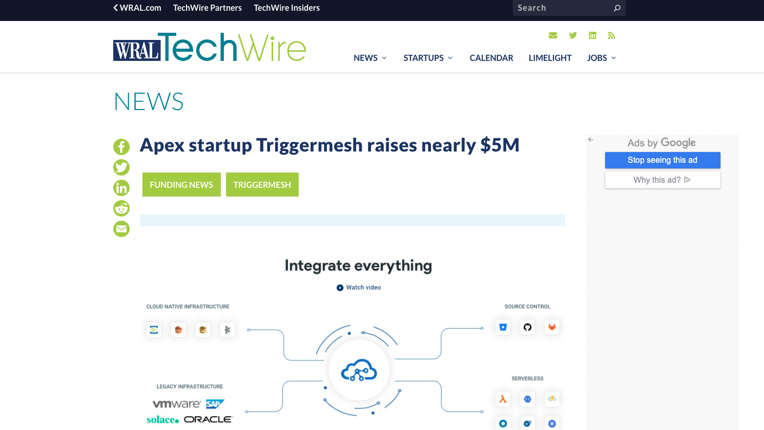 WRAL Tech Wire - Apex startup Triggermesh raises nearly $5M