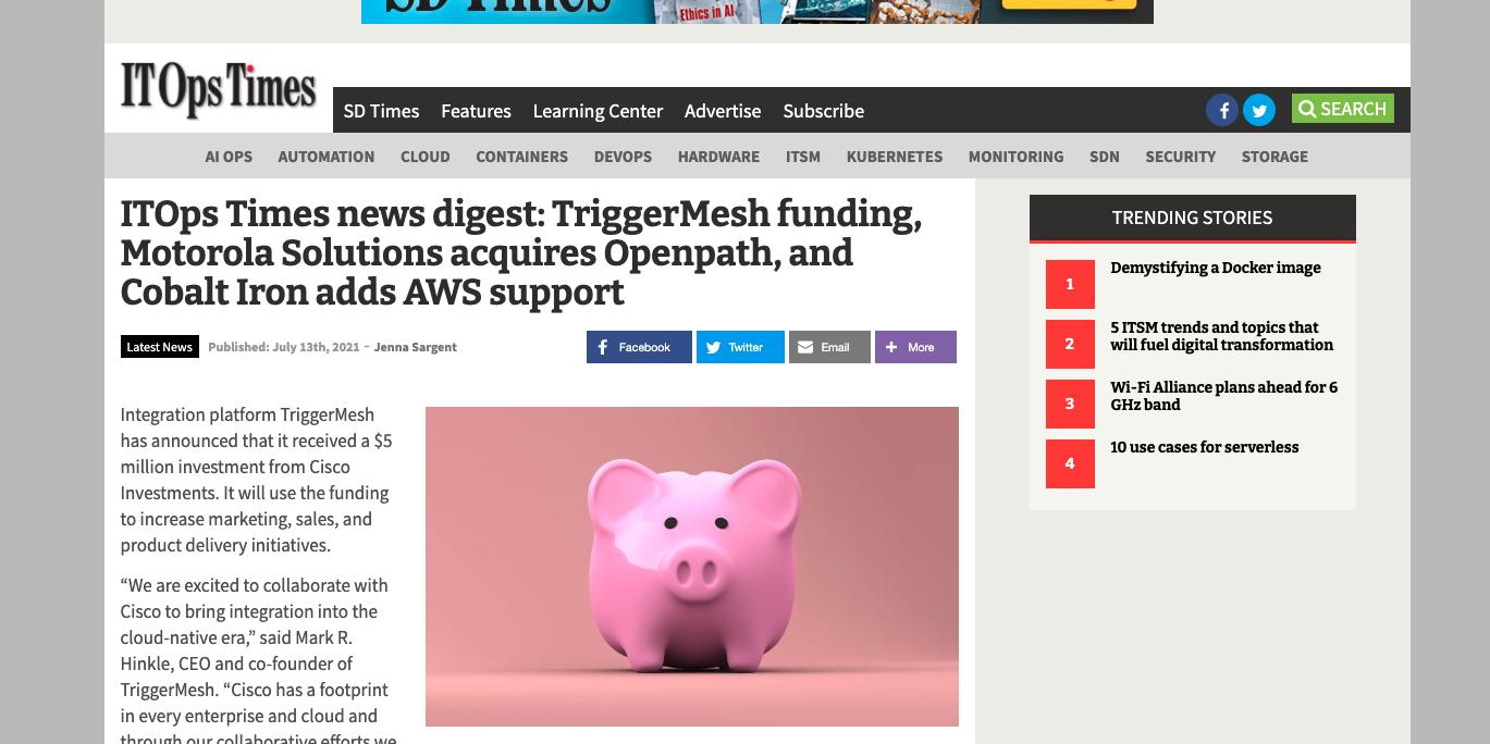 ITOps Times - TriggerMesh funding