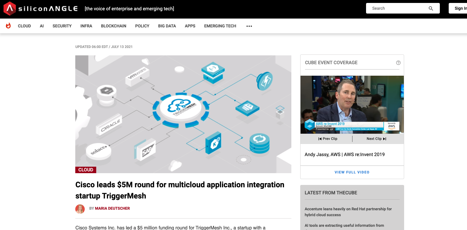 Sililcon Angle - Cisco leads $5M round for multicloud application integration startup TriggerMesh