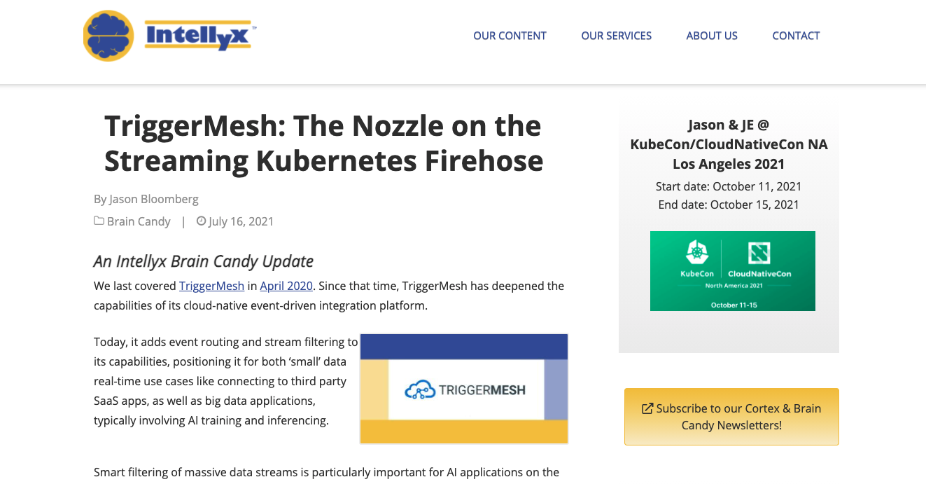 Intellyx - TriggerMesh: The Nozzle on the Streaming Kubernetes Firehose