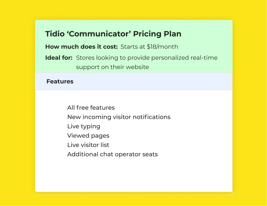 Tidio 'Communicator' Pricing Plan
