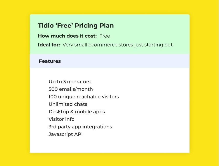 Tidio 'Free' Pricing Plan
