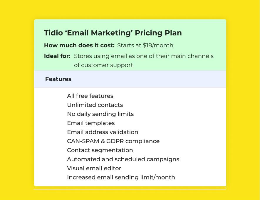 Tidio 'Email Marketing' Plan