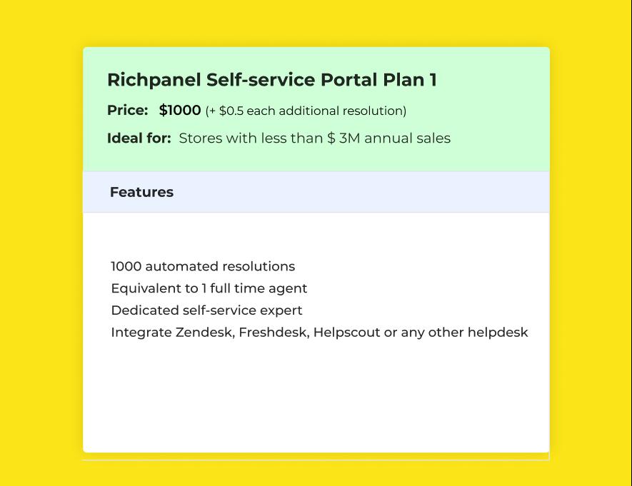 Richpanel self service portal plan 1