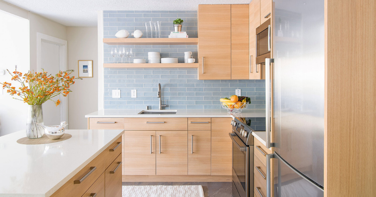 browne wood kitchen with blue subway tiles and floating shelves best interior designer in each US state