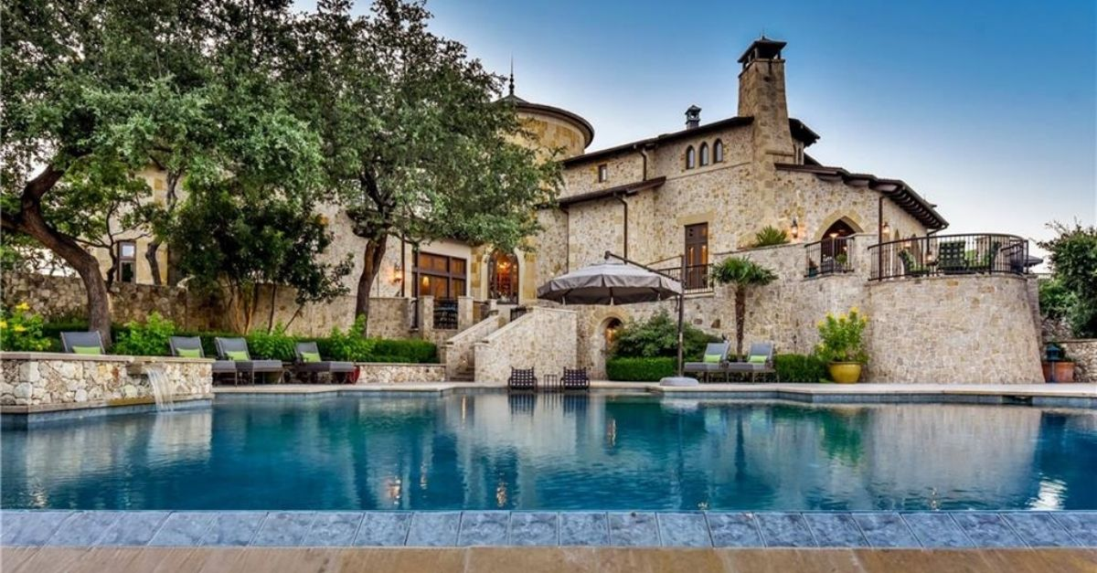 2401 Portofino Ridge Drive in Austin Texas Whimsical Castle exterior pool