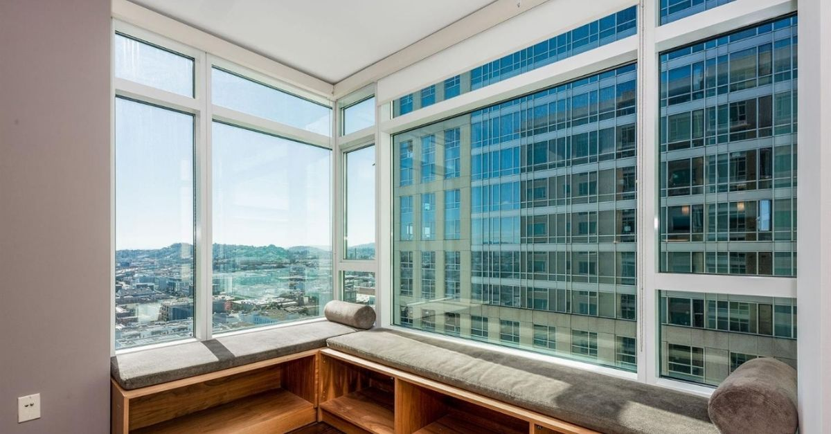 Built-in window seat of San Francisco condo with views through large windows