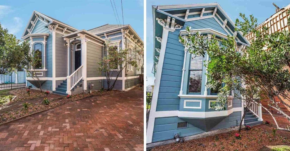 Blue exterior of Oakland Victorian