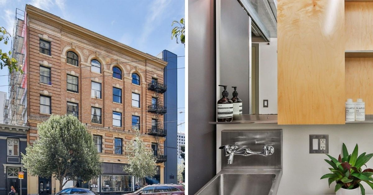 Exterior of apartment building and industrial looking bathroom