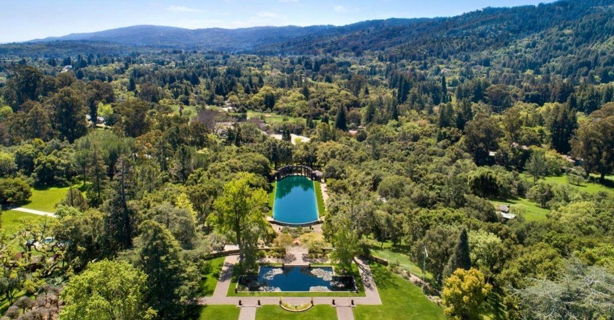 Aerial shot of estate and gardens