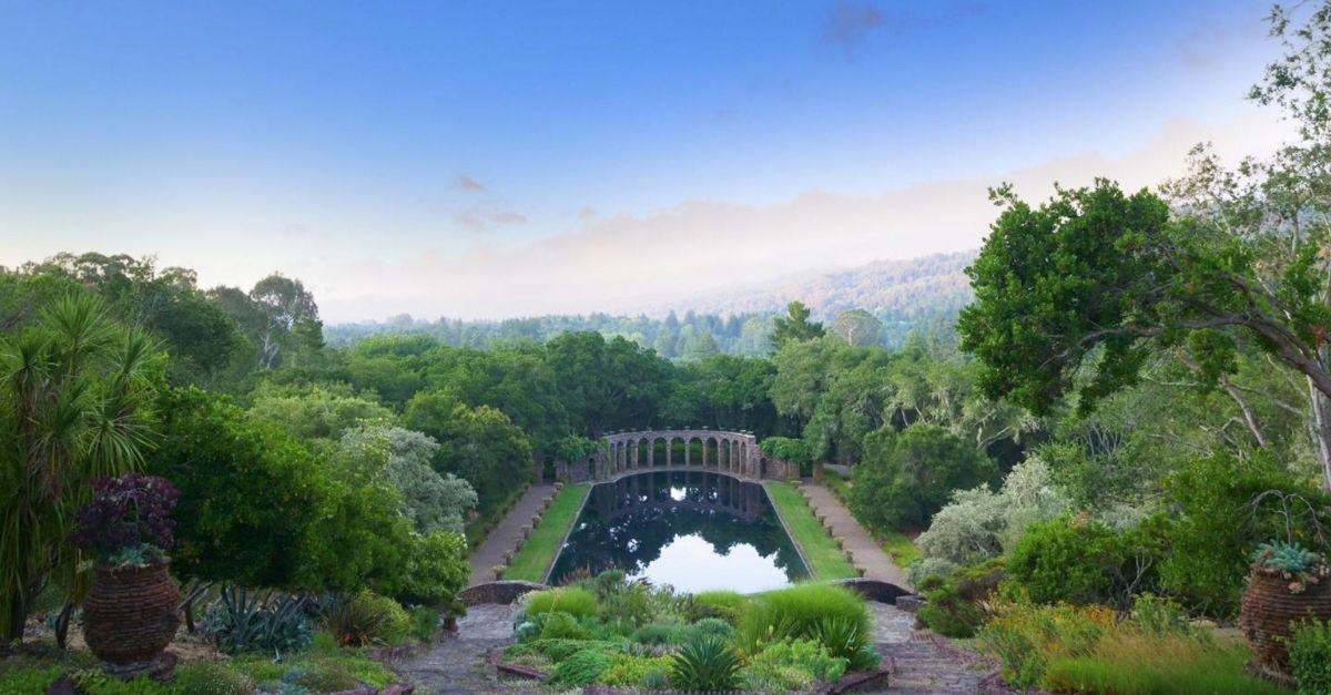 Roman pool in garden with California views in the background