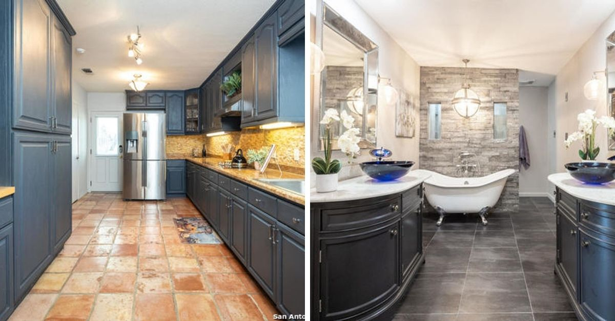 Split image of kitchen with grey cabinets and a bathroom with old fashioned tub