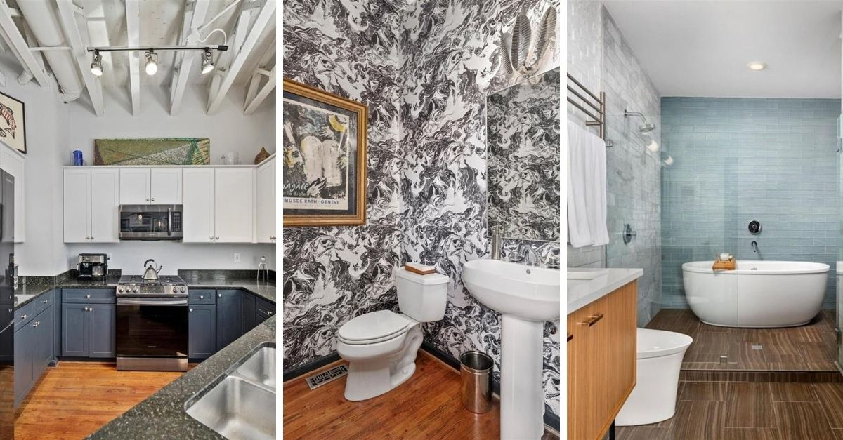 Split image of grey cabinets in a kitchen, a wallpapered bathroom, and a free standing tub inside a glass shower