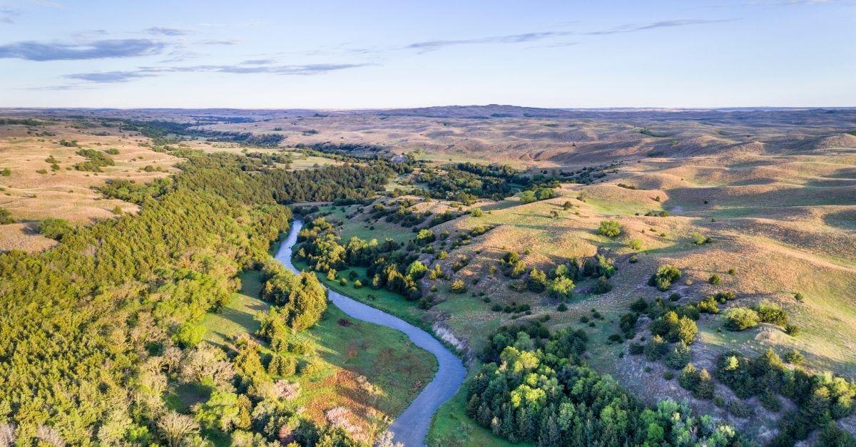Aerial view of the Dismal river in Nebraska