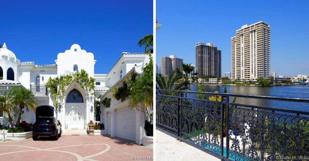 Split image of Santorini style home with porsche parked outfront and Miami waterways with skyscrapers