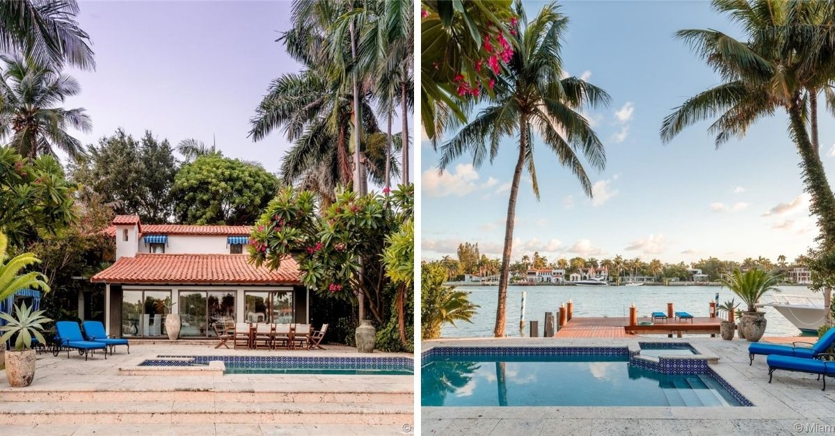 Split image of Mediterranean style house on Miami waterfront with sparkling blue swimming pool and wooden dock out front