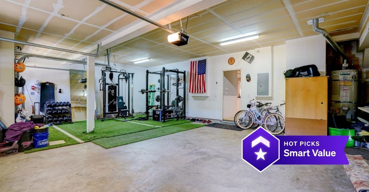 Home gym with American flag on the wall
