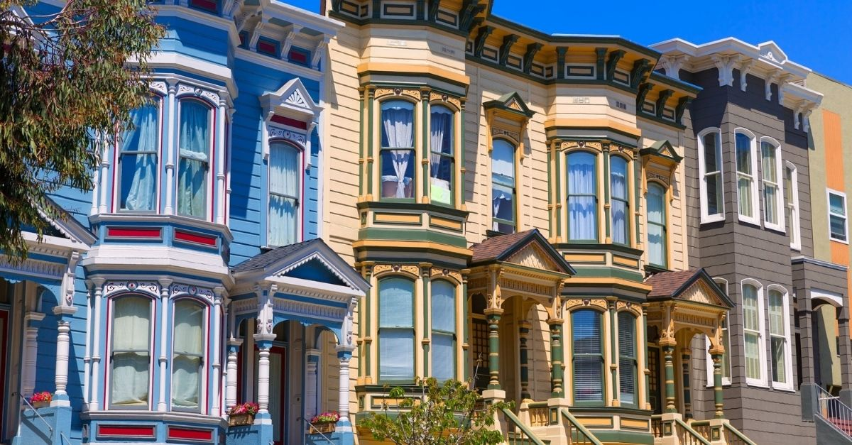 Colorful Victorian houses in a row