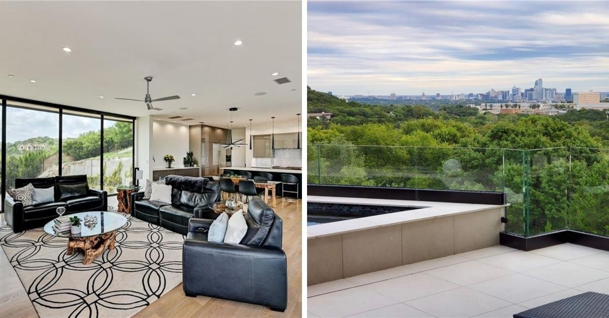 Split image of living room area and view of downown Austin from the infinity pool area outside the home for sale