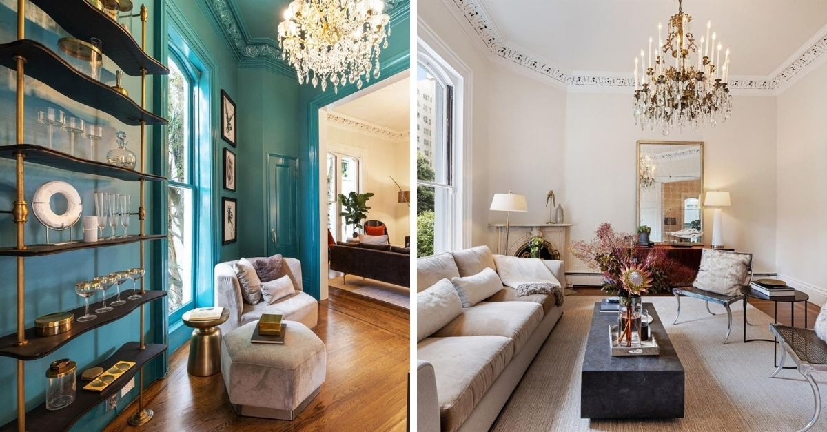 Feusier Octagon House in Russian Hill living room with blue walls and chandeliers