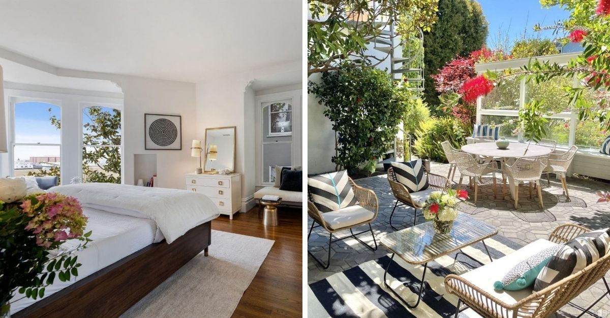 Feusier Octagon House in Russian Hill  garden and bedroom