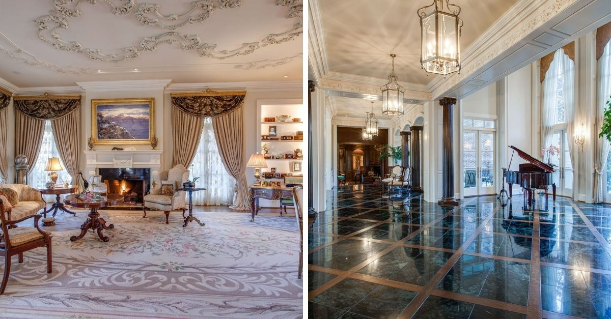 Split image of a grand living room with ceiling moulding and piano room with green marble floors.