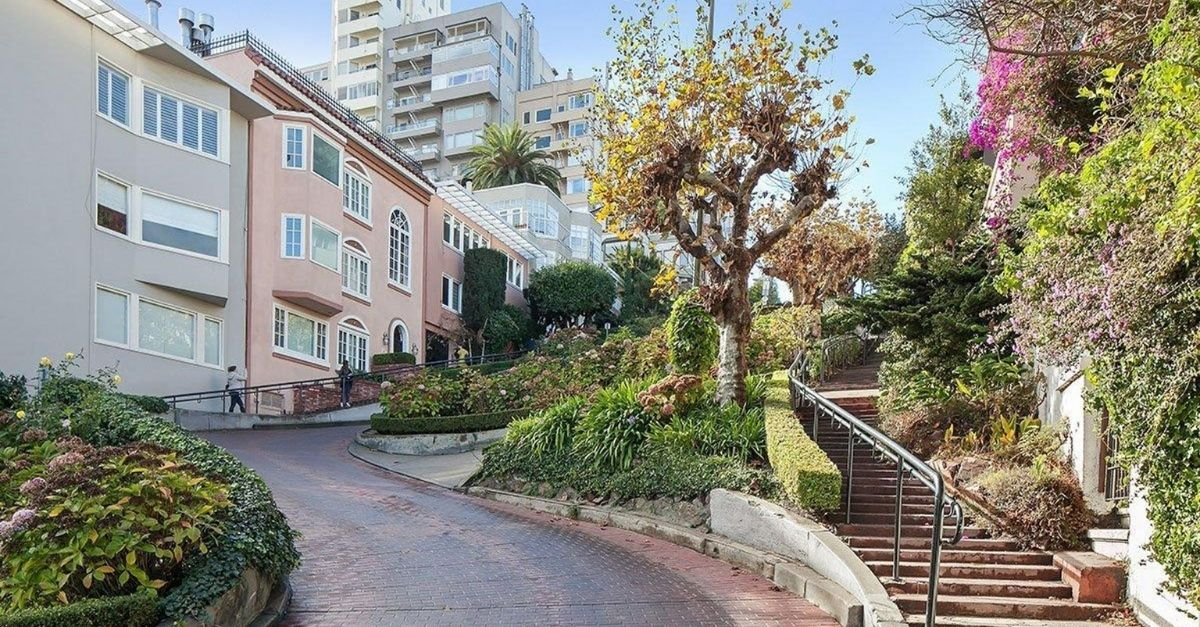 World's most famous winding street, Lombard Street in San Francisco, with colorful buildings