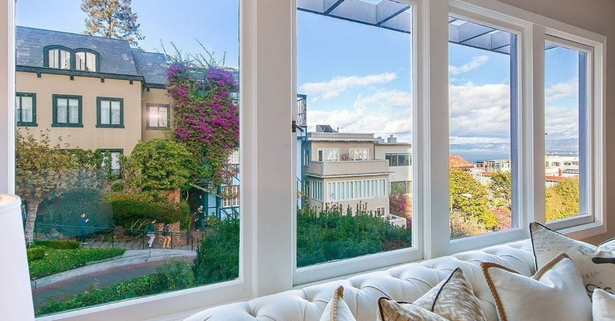 View from duplex window on Lombard Street with Bay views