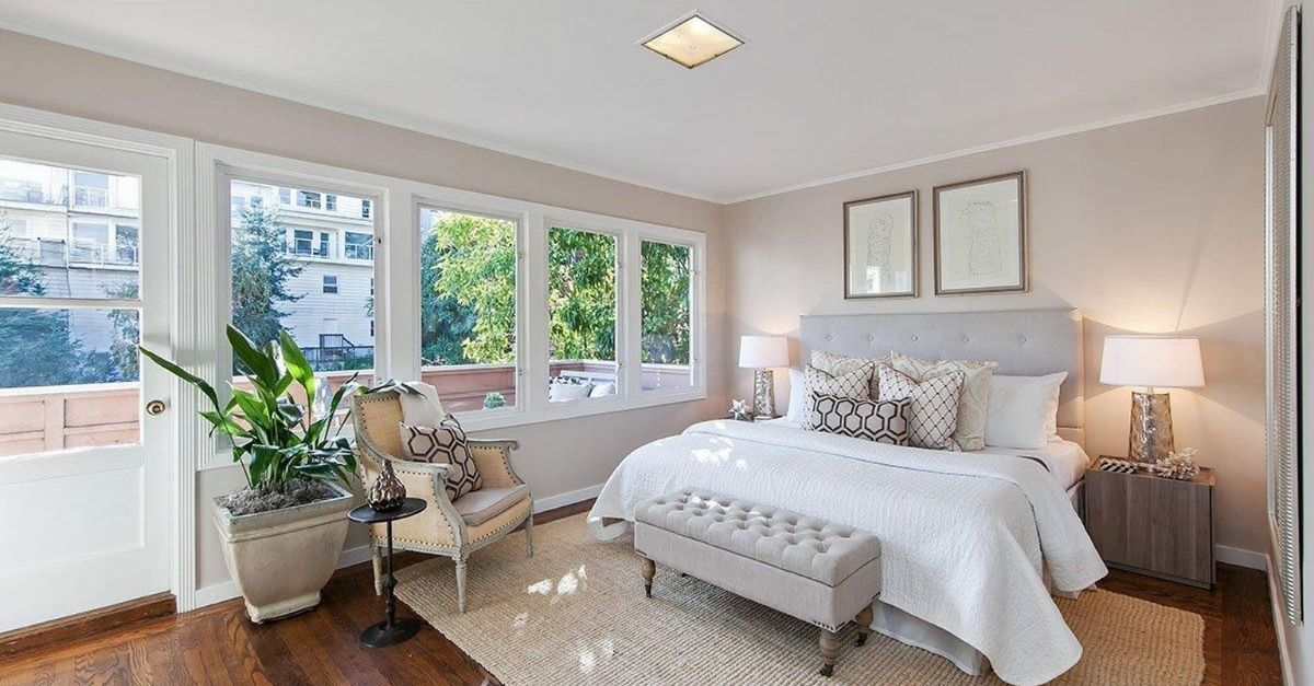 Bedroom with exterior patio balcony on Lombard Street, San Francisco