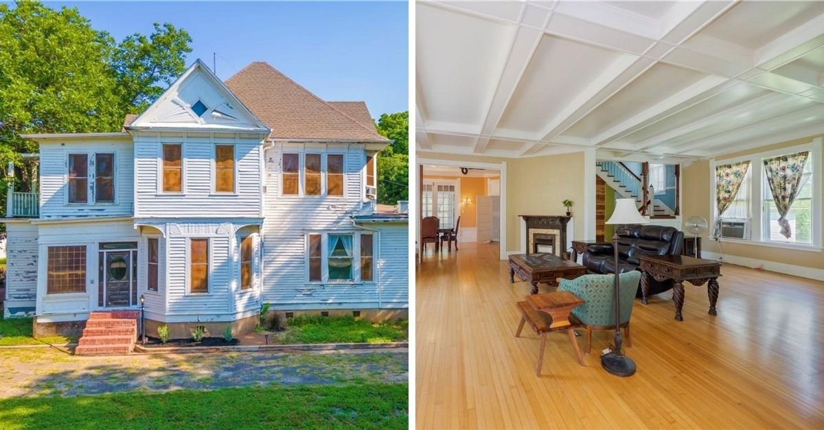 White Queen Anne house with white shiplap walls outside