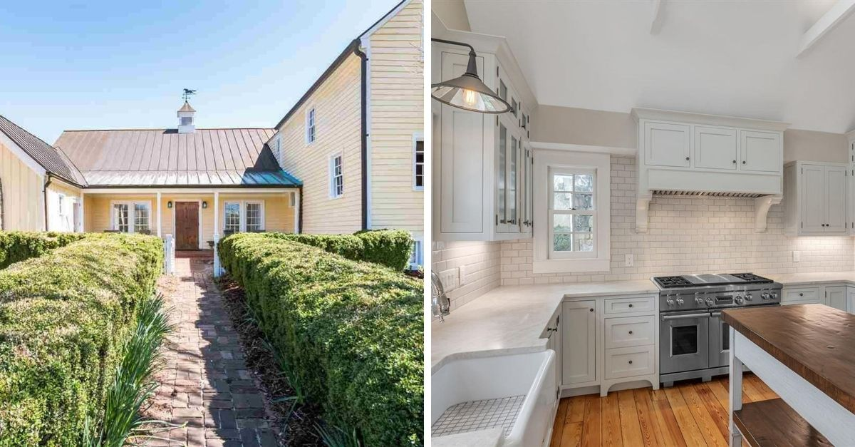 Yellow farmhouse with steel roof and a beautiful chef's style kitchen