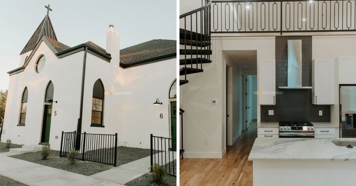White church turned townhome development with six units