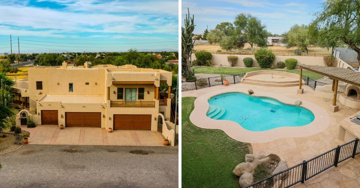 Pueblo style house in Arizona with large blue swimming pool