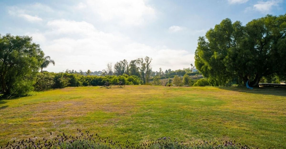 Expansive lawn at estate for sale in Malibu