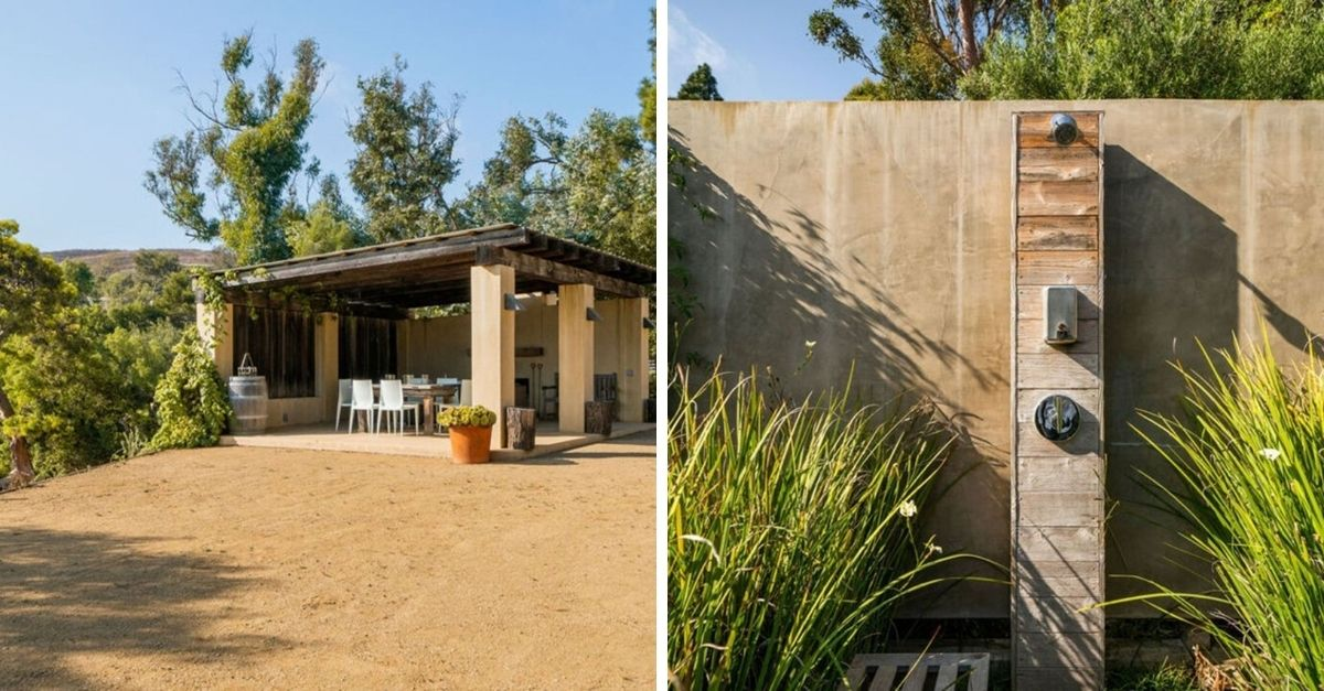 Outdoor gazebo and shower made from wood in Malibu