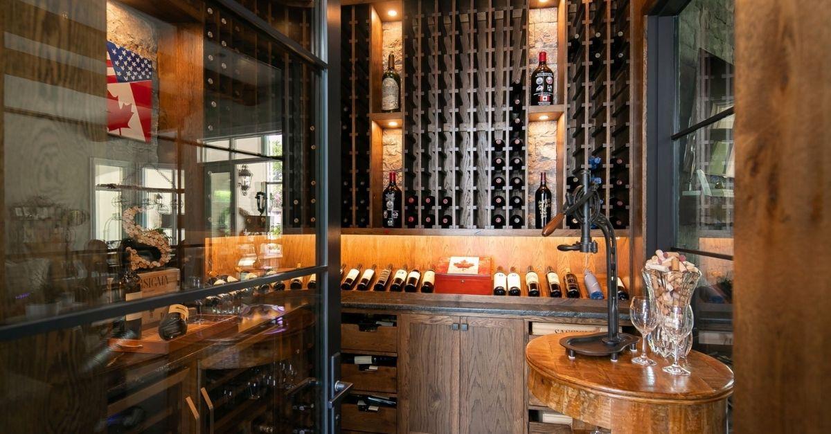 Wine room with dark wood panels